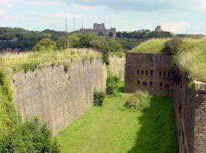 Drop Redoubt with the Castle & Swingate Towers - now there are two towers - in the distance
