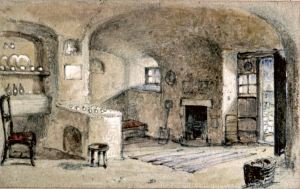 East Cliff cave dwellers home (interior) by Henry Prior circa 1833-1857. Dover Museum