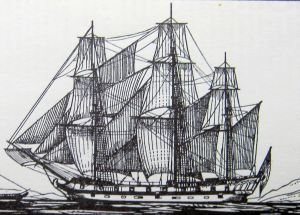 A square-rig sailing ship has sails which are set athwart her masts such as this Circa 1780 Frigate.