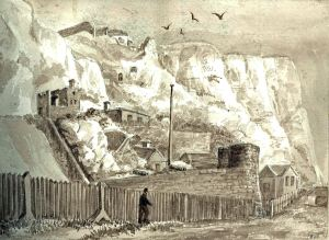 Guilford Battery with Mote Bulwark behind 1821. Dover Museum