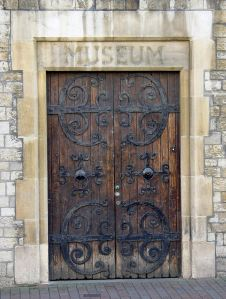 Former Museum entrance on Ladywell, the doors came from Old St James' Church