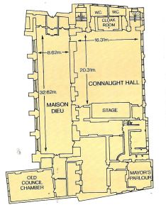 1991 Plan showing the location of Connaught Hall. On the plan the room shown as Maison Dieu is now called the Stone Hall