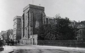 Maison Dieu, former Town Hall, the four-storey prison can be seen on the right, the site of the present Connaught Hall. Dover Museum