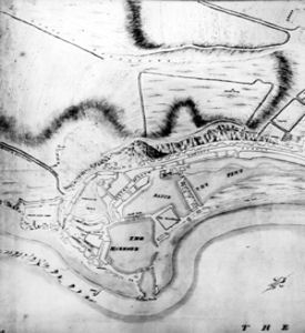 Map of Western Heights Prior to 1780 and the start of the major fortifications - Dover Museum