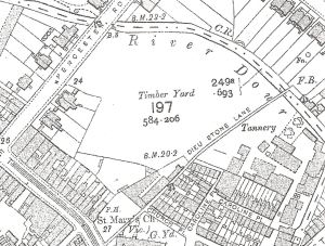 Map of 1907 showing Crundall's Timber Yard, which eventually became Pencester Gardens and the site of the Stembrook Tannery. Dover Library