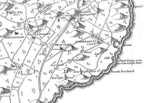 Map c 1790 - West Cliffe east of Dover nar St Margaret's at Cliffe