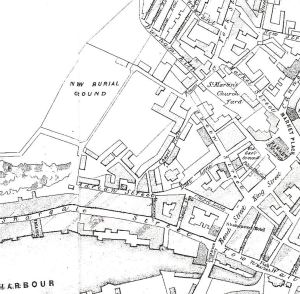 1844 map showing location of Queen Street, Durham Hill and Adrian Street