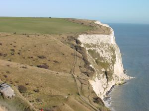 Every year the lifeboats rescue people cut off by the tide, climbing the cliffs or fall/jumped off the top of the cliffs around Dover - Langdon Cliff - looking towards South Foreland. AS 2011