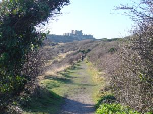 Old railway track along the cliffs looking towards the Castle