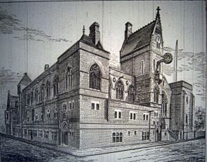 Architects drawing of Connaught Hall extension to the Maison Dieu, July 1883