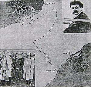 Bleriot's flight across the Channel. Insert with wife Alice at Northfall Meadow 25 July 1909. Daily Graphic 26.07.1909. Dover Library