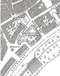 1890 Map showing the Rifles Monument's location between Camden Crescent and New Bridge near the seafront.