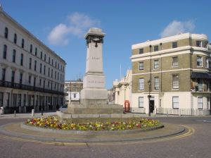Rifles Monument, 1 Camden Crescent on the right and Cambridge Terrace on the left