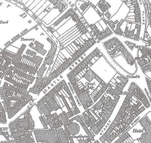 Map of 1900 showing Castle Street and Russell Street