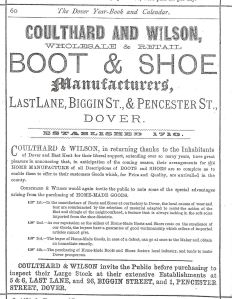 Coulthard & Wilson Boot Makers of  Last Lane, Pencester Road and  Biggin Street. Archibald Wilson offered apprenticeship training without fees