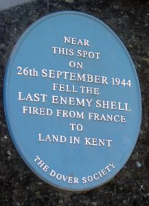 Dover Society Plaque commemorating the last Enemy shell to do material damage to hit Dover and occurred on 26 September 1944 in Castle Street. Alan Sencicle