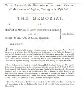 The front page of the 800 page evidence against John Minet Fector April 1799