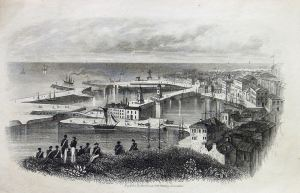 Dover Harbour c1850 from Western Heights. Dover Library