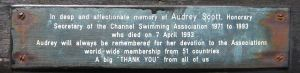 Audrey Scott Honorary Secretary of the Channel Swimming Association 1971- died 07.04.1993