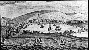 Dover Harbour 1738 glass slide artist Nathaniel & Samuel Buck. Dover Museum