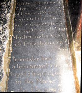 James Gunman gravestone - St Mary's Church north aisle