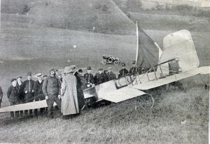 Louis Blériot's plane 25 July 1909 in Northfall Meadow following his successful flight across the Chanel. Dover Library