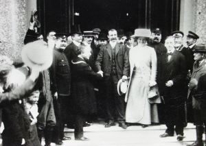 Louis Blériot on the steps of the Lord Warden Hotel, 26 July 1909. Dover Library