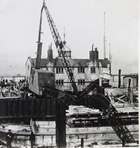 Train Ferry Dock, mishap during building when crane fell over. Dover Library