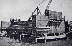 Train ferry dock steel pontoon being put in place c1934. Dover Library