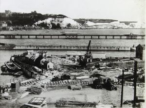 Building the Train Ferry Dock. Dover Library