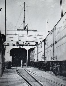 Train Ferry - loading goods wagons c 1960s. Courtesy of Dover Harbour Board