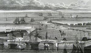 Dover Harbour c1830. Cheesman's Head was to right of the then harbour entrance.