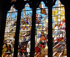 Embarkation of Edward III for France from Dover in a Dover built ship 1359 A window in the Maison Dieu Stone Hall. AS