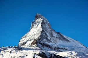 Matterhorn, 14,691-feet (4,478 metres) high, in the Pennine Alps on the border between Switzerland and Italy - Internet