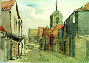 Sandwich, looking towards St Peters Church 1886-89  by J L Roget - Dover Museum