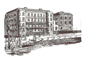 Ship Hotel, Custom House Quay, circa 1834. From an etching and drawn by Lynn Candace Sencicle