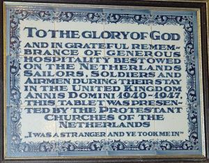 Plaque dedicated by the Netherlands Soldiers, Sailors and Airmen following World War II