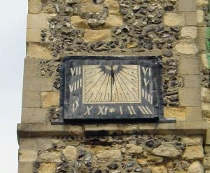 St Mary's Church Sundial erected in 1656 to ensure that councillors arrived at meetings on time.