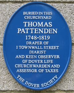 Dover Society Plaque to Thomas Pattenden diarist 1748-1819 on the side of the Parish Hall