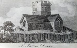 18th Century sketch of the old St James Church, the mariners church from 11th to early 19th century.