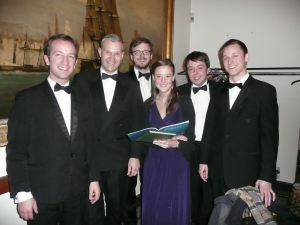 Dover Choral Society's music director Steve yarrow, second from the leaft, with soloists Michael Solomon Williams, Samuel Queen, Jenni Harper, Gordon Waterson and James Priest. Graham Tutthill 2013