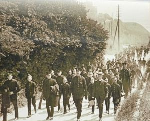Duke of York's pupils and teachers walking along the Dover-Deal Road (A258) c1908