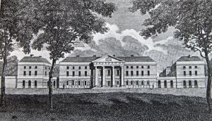 Royal Military Asylum, Chelsea, 1804, later renamed Duke of York's School, engraved by A Warren from a drawing by Schnebbelic