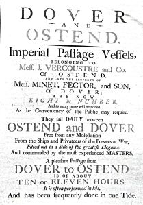 During the American War of Independence 1776-1781 the Fectors sold some of their ships to Flanagan Vercoustre of Ostend. Dover Museum