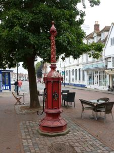 Faversham town pump where the alleged witches were hung.