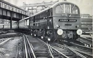 Golden Arrow - Electric engine pulling out of Marine Station. Dover Harbour Board