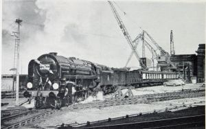 Golden Arrow hauled by the William Shakespeare engine out of Marine Station. Dover Library