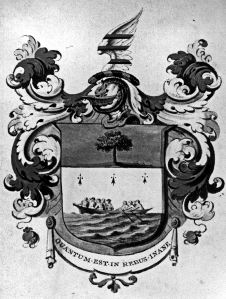 Minet Family Arms 1797 depicting the rowing boat in which Isaac crossed from France. Dover Museum