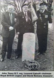Reg Maltby's gravestone dedication 06.01.1998 Charlton cemetery. Dover Mercury
