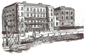Ship Hotel on Custom House Quay circa 1834 by Lynn Candace Sencicle
